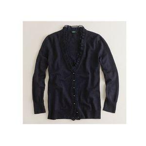 J.Crew black ethereal ruffle v-neck cardigan
